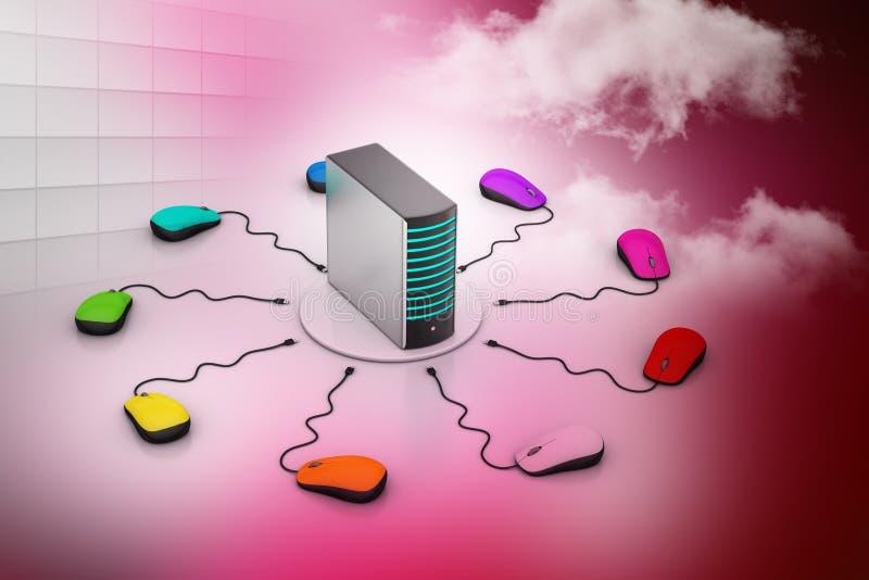 Computermuis aangesloten Server stock illustratie