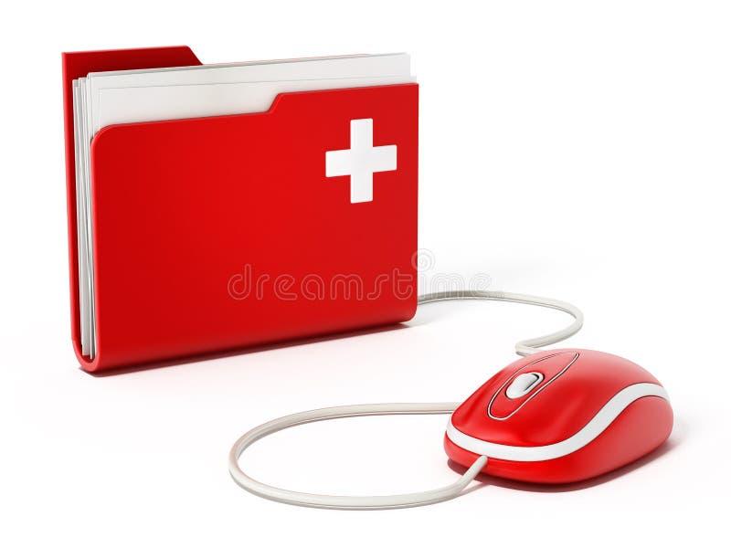 Computermuis die zich op medische omslag bevinden stock illustratie