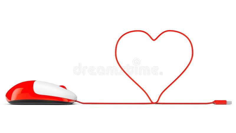 Computermuis en kabels in vorm van hart op een wit stock afbeeldingen