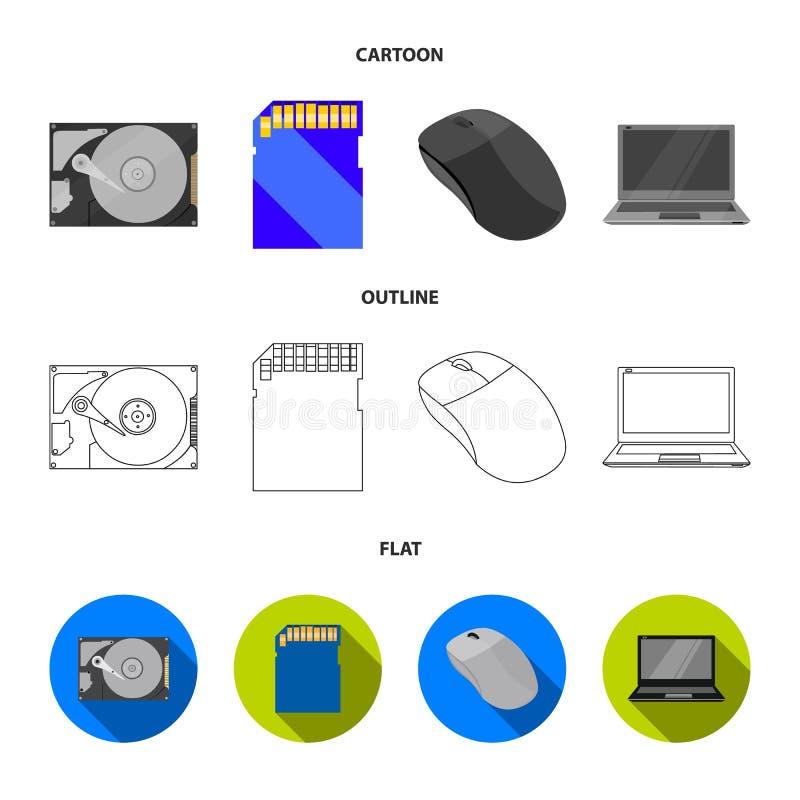 Computermuis, laptop en ander materiaal Pictogrammen van de personal computer de vastgestelde inzameling in beeldverhaal, overzic vector illustratie