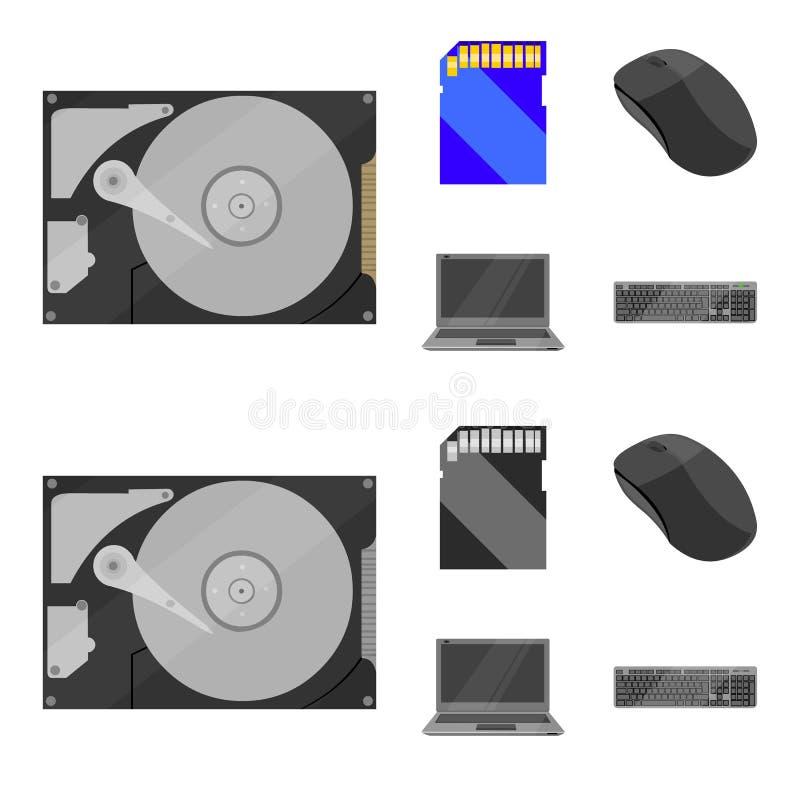 Computermuis, laptop en ander materiaal Pictogrammen van de personal computer de vastgestelde inzameling in beeldverhaal, zwart-w vector illustratie