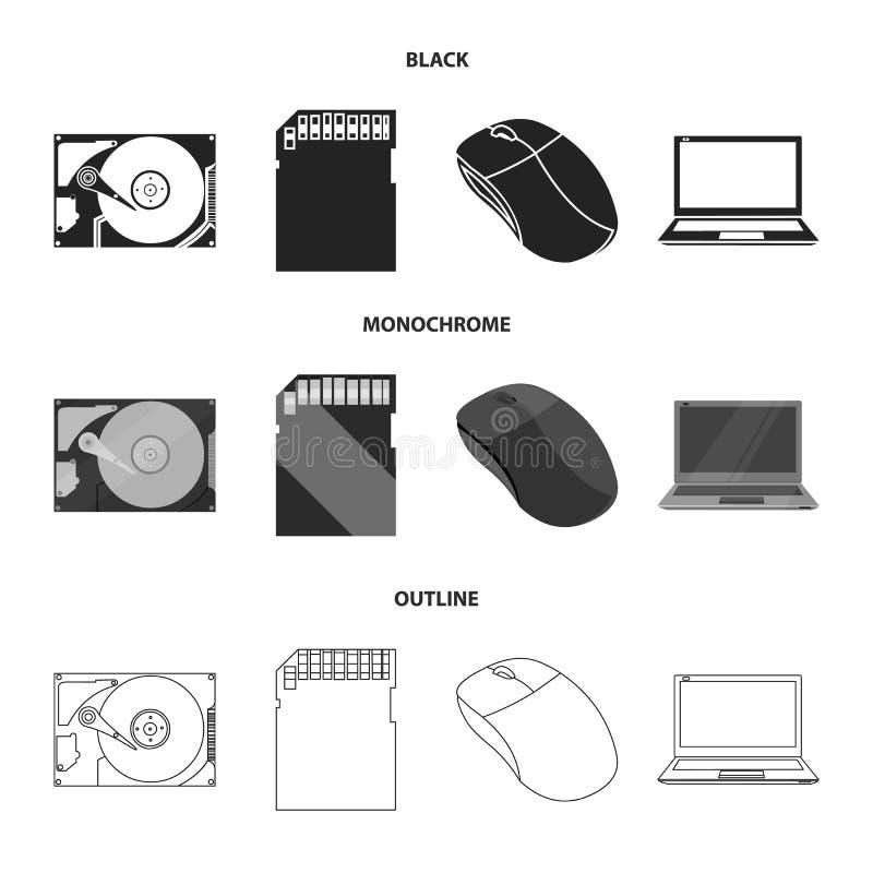 Computermuis, laptop en ander materiaal Pictogrammen van de personal computer de vastgestelde inzameling in zwarte, zwart-wit, ov royalty-vrije illustratie