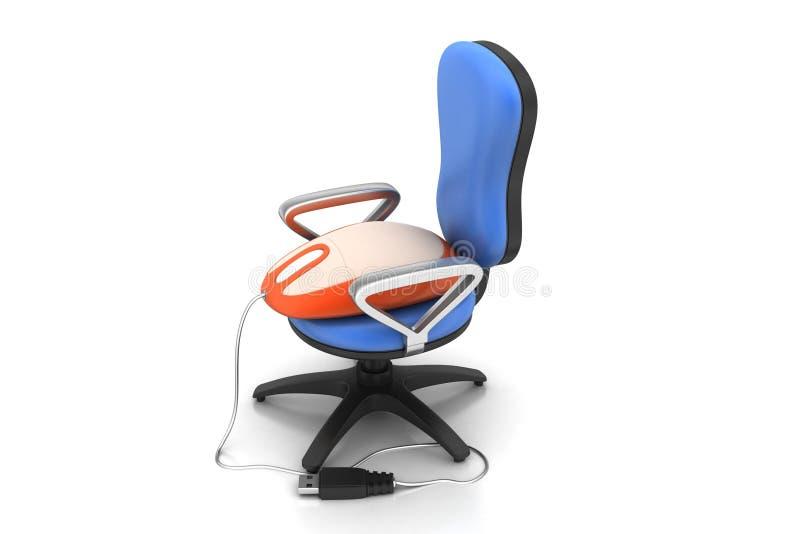 Computermuis op de stoel stock illustratie