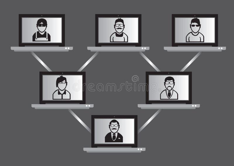 Computernetwerk en het Virtuele Concept van de Vergaderingstechnologie royalty-vrije illustratie