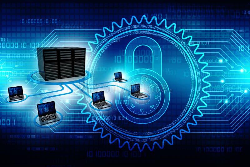 Computernetwerk, Internet-Mededeling, op technologieachtergrond die wordt geïsoleerd het 3d teruggeven stock afbeelding