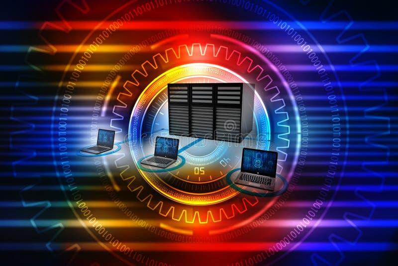 Computernetwerk, Internet-Mededeling, op technologieachtergrond die wordt geïsoleerd het 3d teruggeven royalty-vrije stock foto's