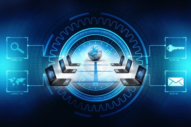 Computernetwerk, Internet-Mededeling, op technologieachtergrond die wordt geïsoleerd het 3d teruggeven royalty-vrije stock foto
