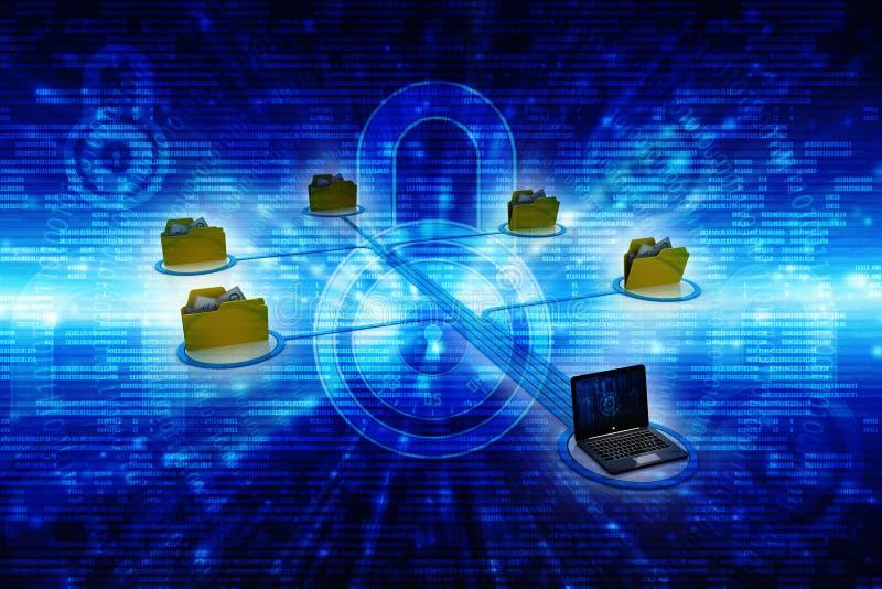 Computernetwerk, Internet-Mededeling, op technologieachtergrond die wordt geïsoleerd het 3d teruggeven stock foto's