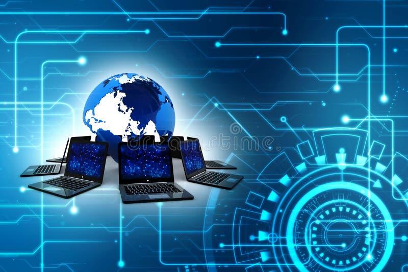 Computernetwerk, Internet-Mededeling op technologieachtergrond het 3d teruggeven stock afbeelding
