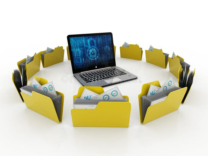 Computernetwerk, Internet-Mededeling, op witte achtergrond wordt geïsoleerd die het 3d teruggeven stock foto