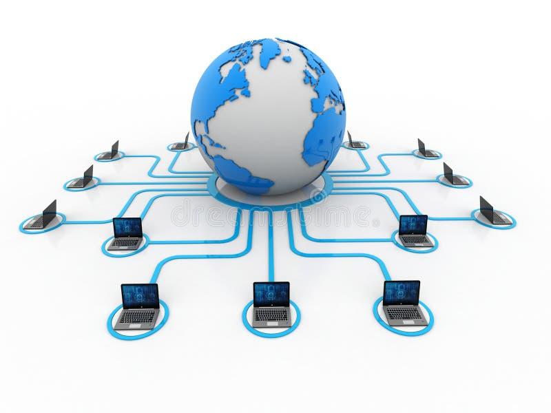 Computernetwerk, Internet-Mededeling, op witte achtergrond wordt geïsoleerd die het 3d teruggeven stock fotografie