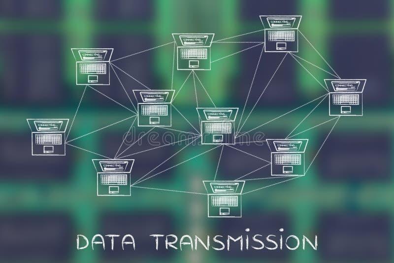 Computernetwerk met overvloed van verbindingen, gegevenstransmissie royalty-vrije stock foto