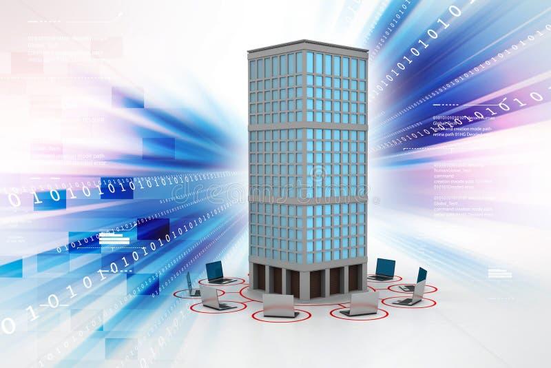 Computernetwerk rond het gebouw stock illustratie