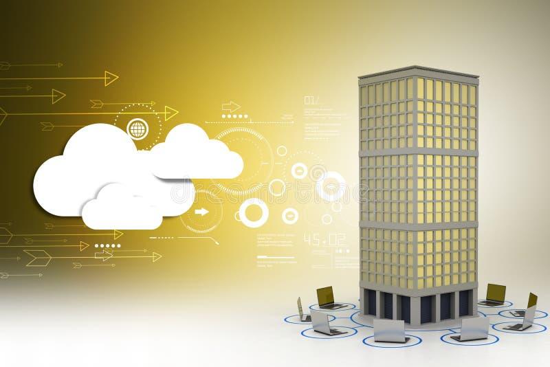 Computernetwerk rond het gebouw in kleuren achtergrond royalty-vrije illustratie