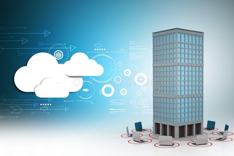 Computernetwerk rond het gebouw in kleuren achtergrond vector illustratie