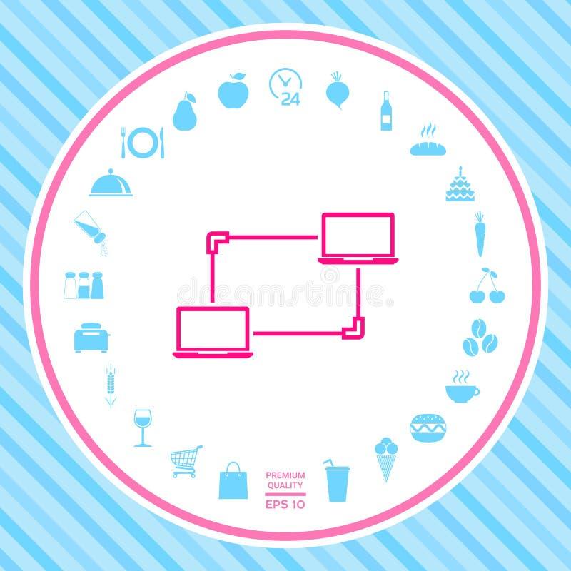 Computernetzwerk, Daten-Austausch, Übergangskonzept-Ikone vektor abbildung