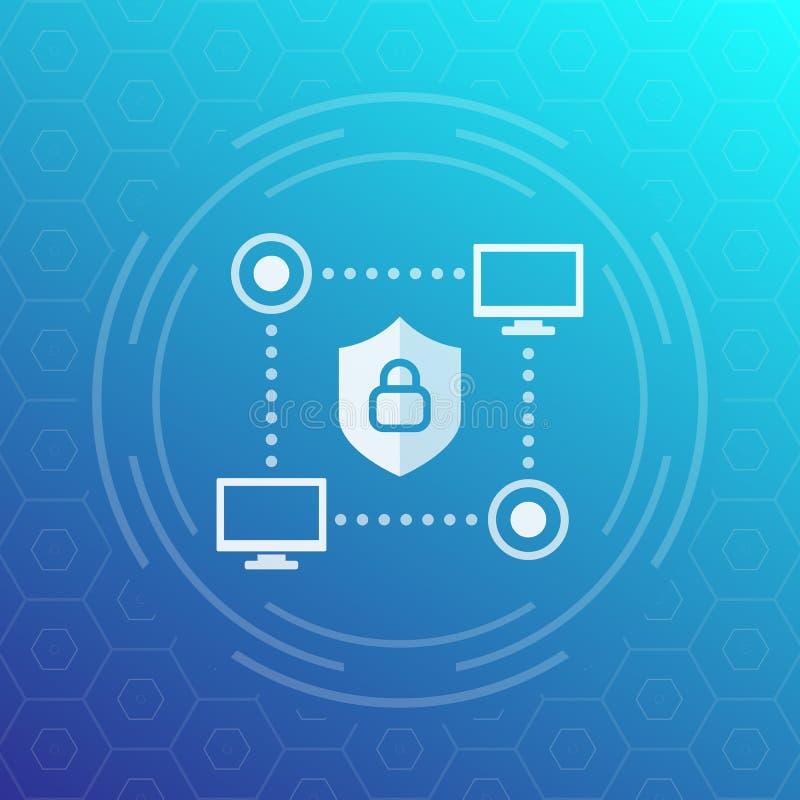 Computernetzwerk, Internetsicherheitsvektorikone lizenzfreie abbildung