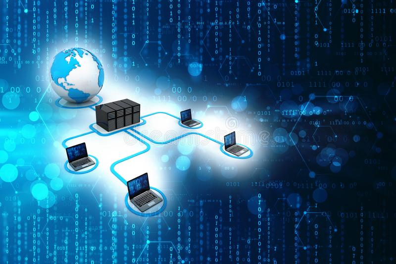 Computernetzwerk lokalisiert im Technologiehintergrund Network Connection, Internet-Hintergrund 3d ?bertragen stock abbildung