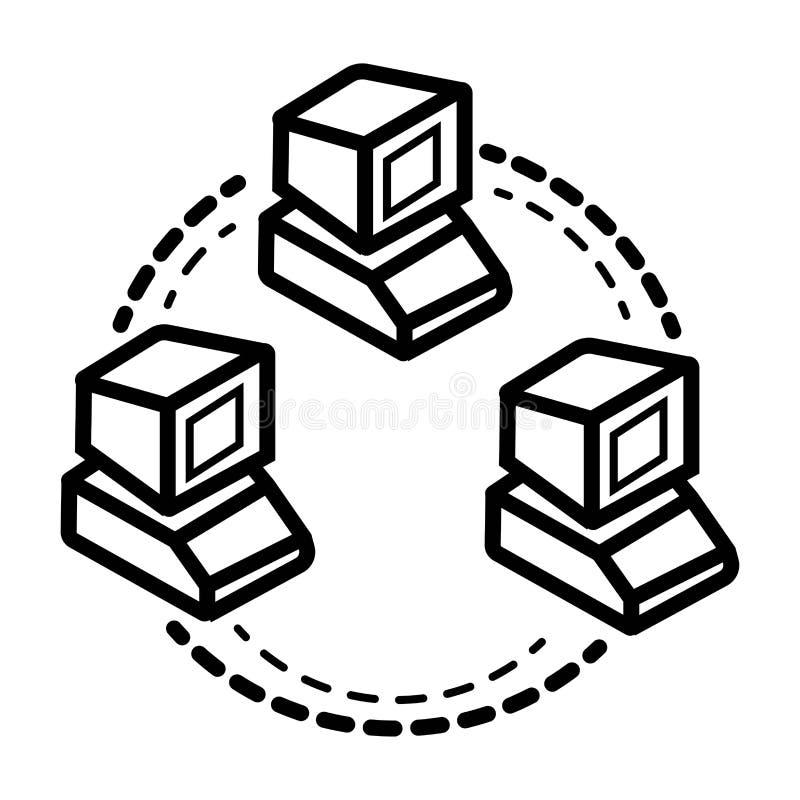Computernetzwerklinie Ikone stock abbildung
