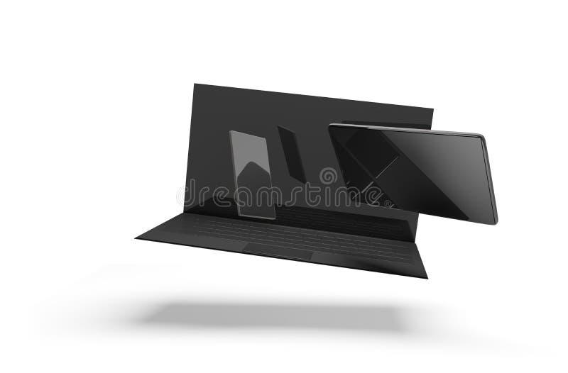 Computernotizbuch-Laptop-Computer Handy 3d-illustration stock abbildung