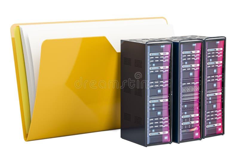 Computerordnerikone mit Servern, Wiedergabe 3D lizenzfreie abbildung
