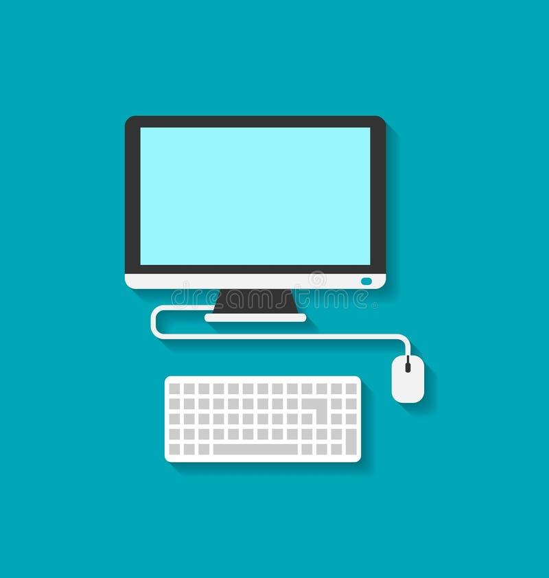 Computerpc, Toetsenbord en Muis stock illustratie