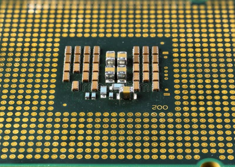 Computerprocessor, microcircuits erop, vergulde contacten royalty-vrije stock afbeelding