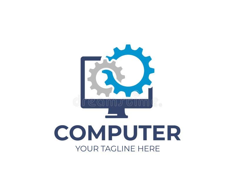 Computerreparatie Logo Template Software-ontwikkeling vectorontwerp vector illustratie