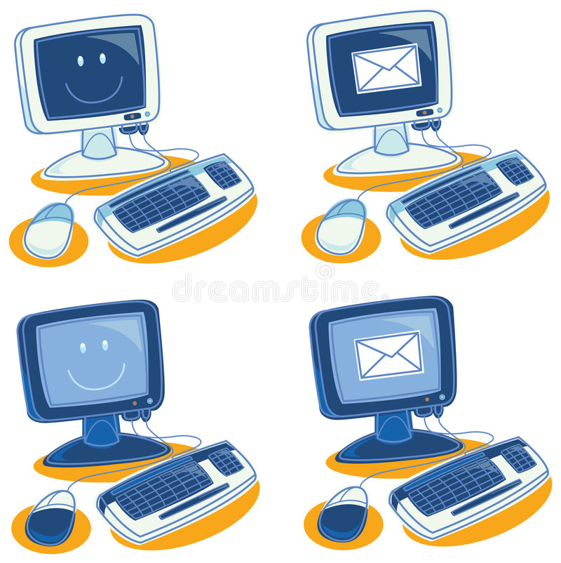 Computers. Illustration of various computers on a withe background with smiles and envelopes on their screens royalty free illustration