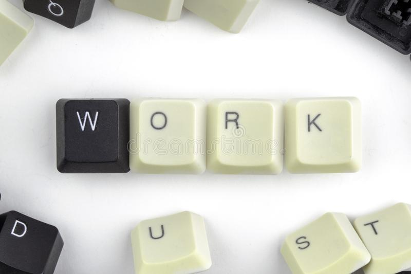 Computers and computer technologies in industries and fields of human activity - concept. work. The word is laid out on a white stock photos