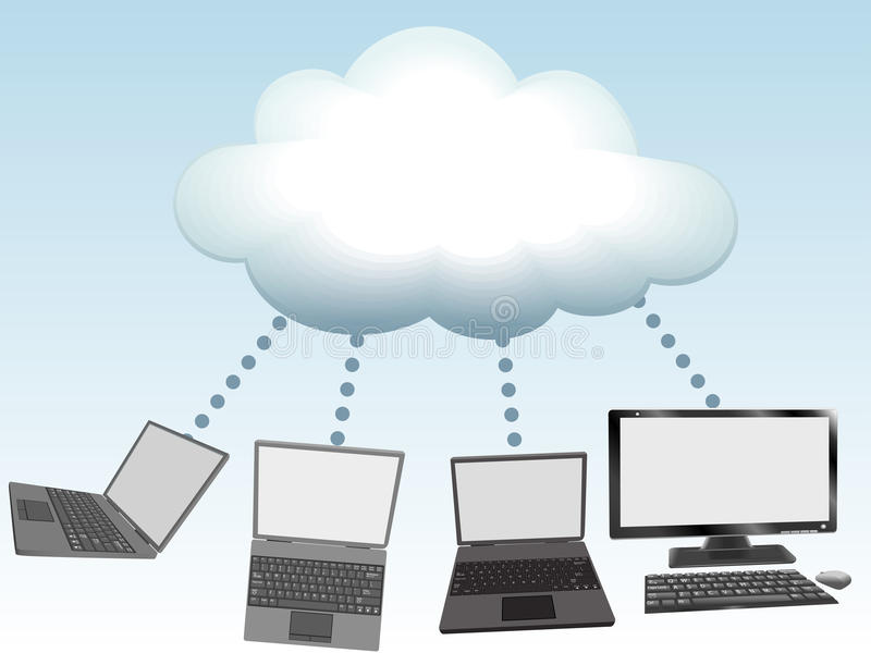 Computers connect to cloud computing technology. Laptop and desktop computers connect to cloud computing network information technology stock illustration