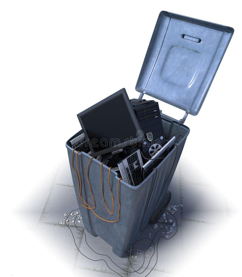 Computers in een afvalbak op een witte achtergrond royalty-vrije illustratie