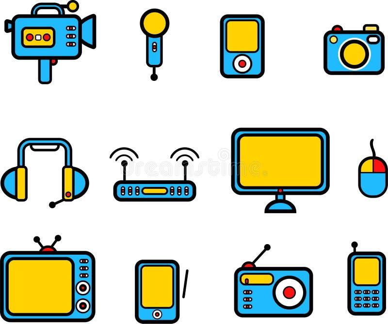 Computers en elektronikaapparatuur pictogrammen stock illustratie