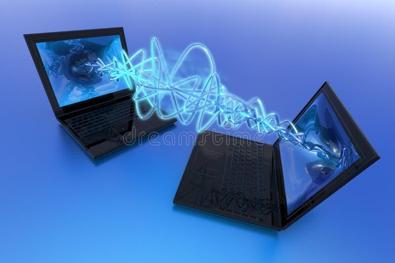 Computers exchange data vector illustration