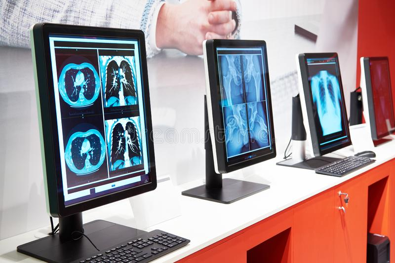 Computers with monitors for medicine stock photos