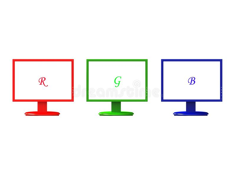 Computers monitors RGB. Flat panel LCD computer monitor in 3 colours red, green & blue, made in 3d royalty free stock images