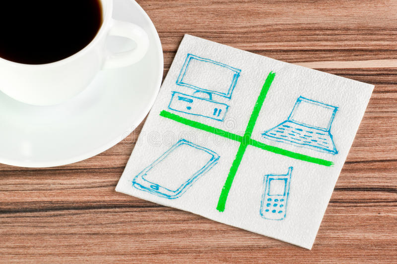 Computers on a napkin stock images