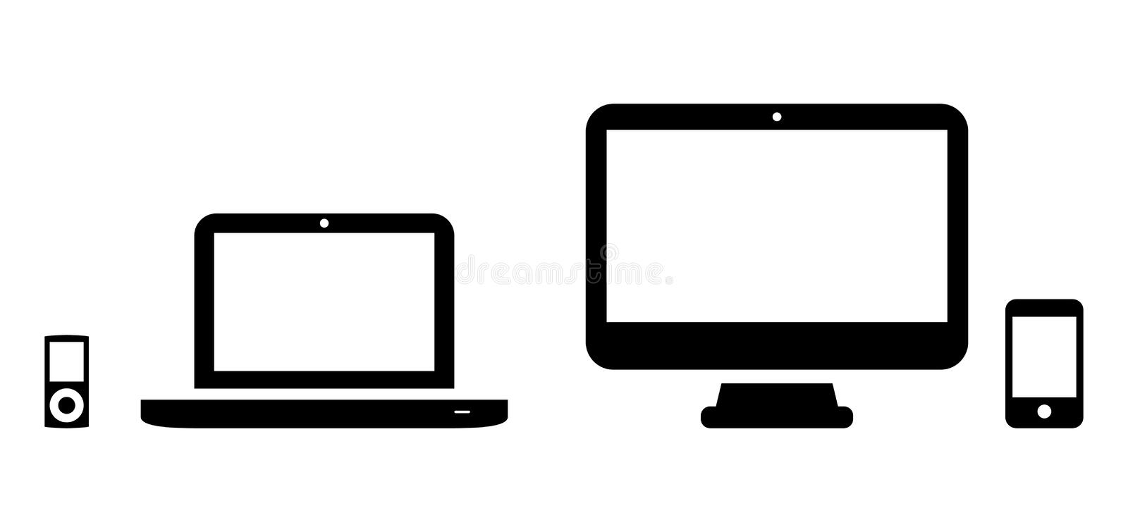 Computers and players. Vector icons of MP3 player, laptop, desktop and phone vector illustration