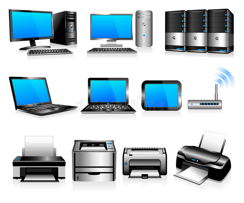 Computers and printers, computing technology. 3D and 2D desktop computers, laptops, servers and printers design elements - All elements are grouped and on royalty free illustration