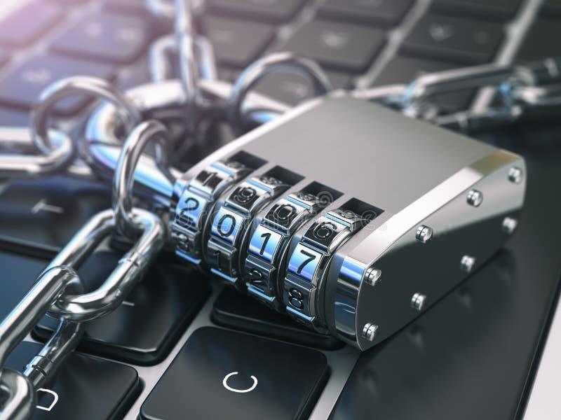 Computerschutz- oder -sicherheitskonzept Laptoptastatur mit Verschluss stock abbildung