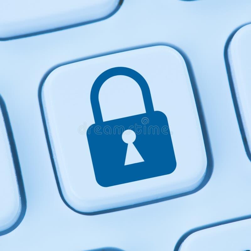 Computersicherheitsinternet-Verschlussikonenon-line-Datenschutzblau stockbilder