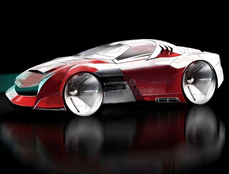 Computerskizzen-Konzeptauto trägt Coupé zur Schau Abbildung stock abbildung