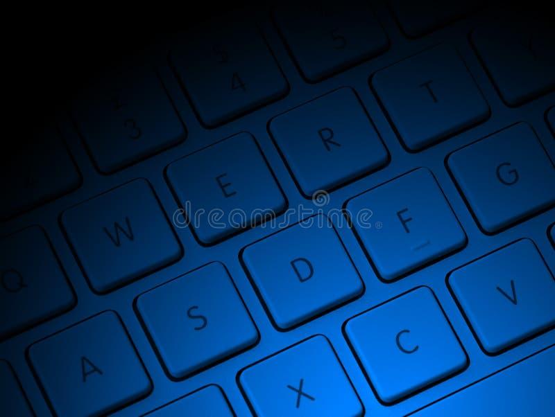 Computersleutels met blauwe verlichting stock afbeelding