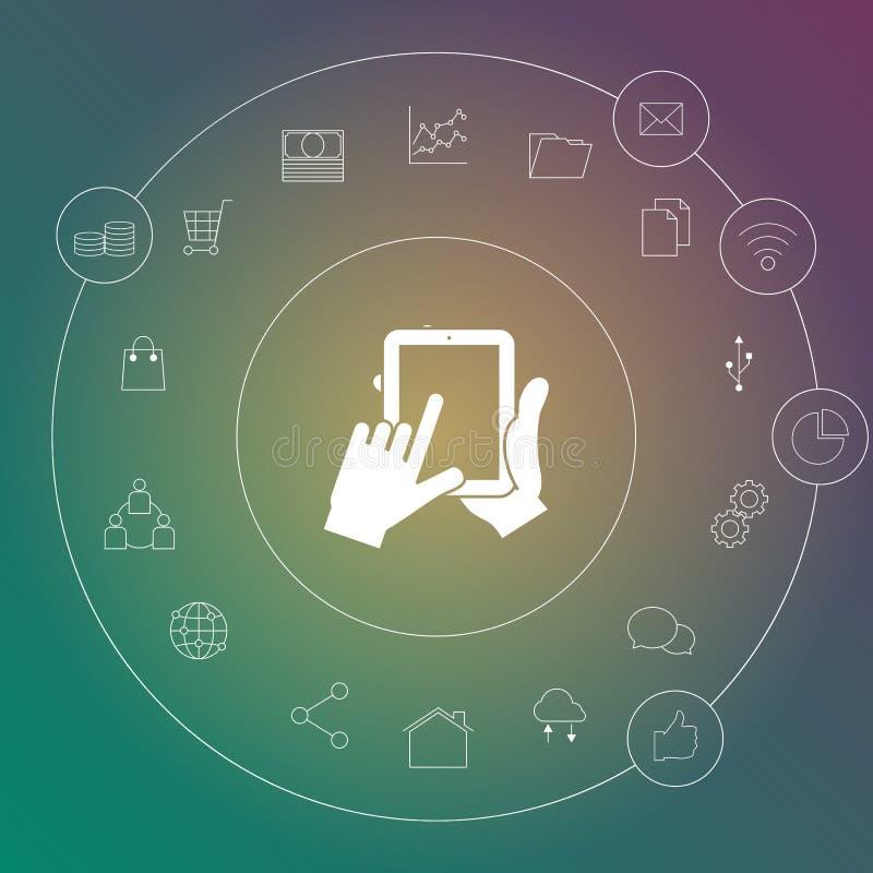 computersmartphone en tabletachtergrond van de pictogrammenvector royalty-vrije illustratie