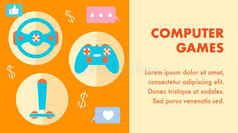 Computerspelen, Malplaatje van de Gokken het Vlakke Vectorbanner vector illustratie