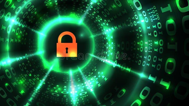 Computersysteembescherming, veiligheid veilig Internet Slotsymbool op de abstracte achtergrond van computergegevens, gegevensbesc vector illustratie