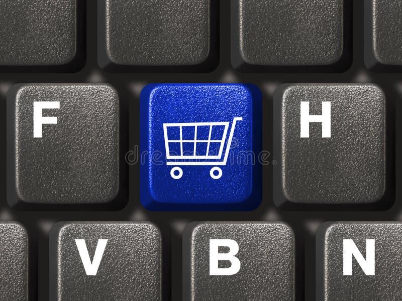 Computertastatur mit Einkaufentaste stockbilder
