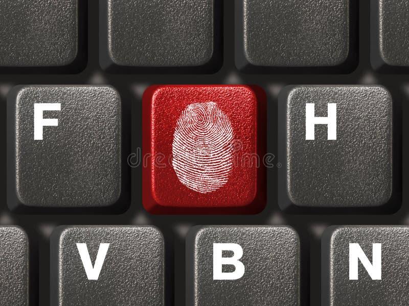 Computertastatur mit Fingerabdruck stockfotografie