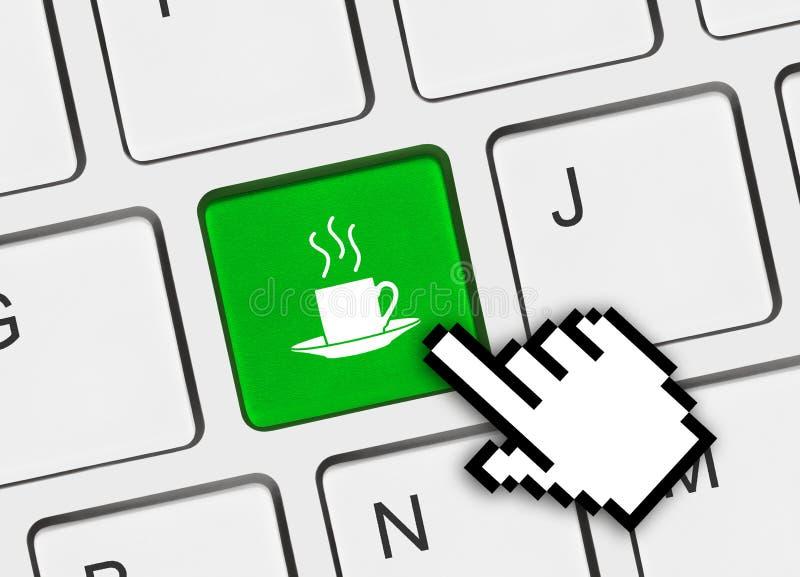 Computertastatur mit Kaffeetaste stockbild