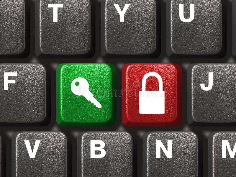 Computertastatur mit zwei Sicherheitstasten stockfoto